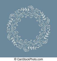 text., noël, illustration, noël, carte, affiche, branches, fleurs, toile, vecteur, cône, isolé, couronne, salutation, endroit