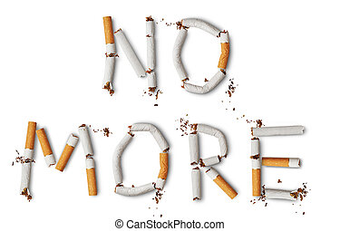 NO MORE - Text ''NO MORE'' made from broken cigarettes
