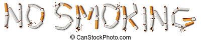 no smoking - Text ''no smoking'' made from broken cigarettes