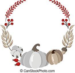text., octobre, vecteur, feuilles, gabarit, automne, érable, design., automne, conception, impression, récolte, nature, gris, couronne, fond, saison, illustration., endroit, potirons