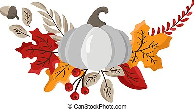 text., octobre, vecteur, feuilles, gabarit, automne, érable, design., heureux, thanksgiving, automne, conception, impression, récolte, nature, gris, couronne, fond, illustration, day., saison, endroit, potirons