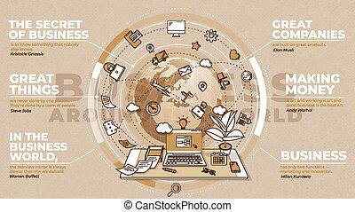 text, om, illustration, värld, blocks., omkring, affär, annonsering