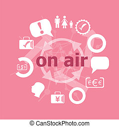 Text On air. Business concept . Set of flat icons for mobile app and web