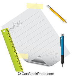 Text on lined paper with accessories