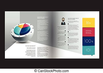 Text page, brochure, flyer template. Simply design. Vector.