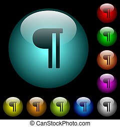 Text paragraph icons in color illuminated glass buttons