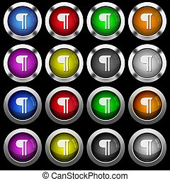 Text paragraph white icons in round glossy buttons on black background