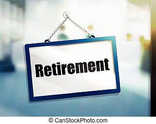 text, pensionierung, zeichen