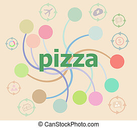 Text Pizza on digital background. Health food concept . Futuristic graphic user interface