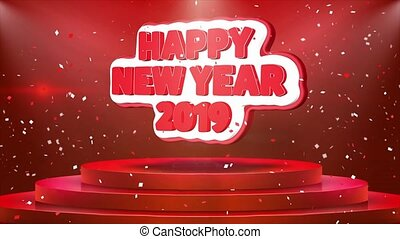 text, podium, animation, 2019, jahr, konfetti, neu , glücklich, schleife, buehne