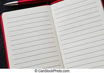 text., quaderno, scuro, fondo., penna, carta, rosso, vuoto, aperto, vuoto