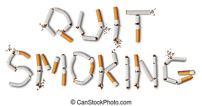 quit smoking - Text quit smoking made from broken cigarettes
