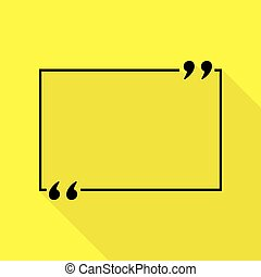 Text quote sign. Black icon with flat style shadow path on yellow background.
