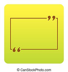 Text quote sign. Vector. Brown icon at green-yellow gradient square with rounded corners on white background. Isolated.