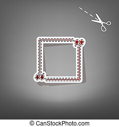 Text quote sign. Vector. Red icon with for applique from paper with shadow on gray background with scissors.