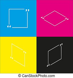Text quote sign. Vector. White icon with isometric projections on cyan, magenta, yellow and black backgrounds.