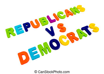 Text REPUBLICANS VS DEMOCRATS on a white background