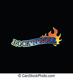 Text Rock n Roll and tongue of burning flame. Music theme. Vector design for t-shirt print, sticker or promo poster