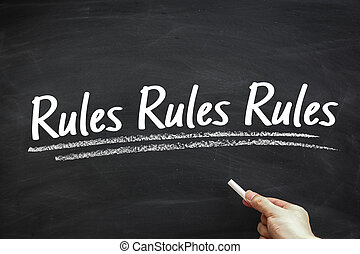 Rules - Text Rules written on the blackboard with hand...