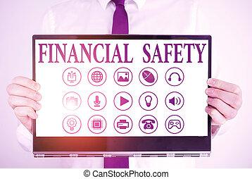 text, safety., handschrift, bedeutung, decke, goals., geld, begriff, gespeichert, finanziell, notfälle, genug