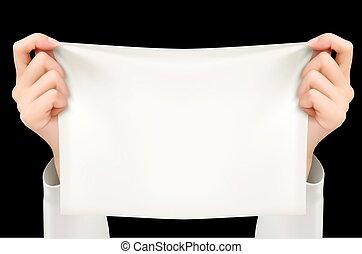 text)., segurando, cartaz, dois, vector., mãos, (sample, branca