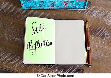 text, selbst, reflexion, handgeschrieben
