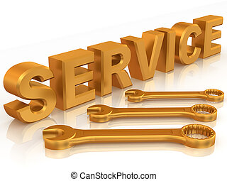 Text SERVICE with three spanners. 3d