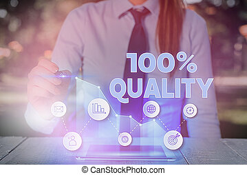 Text sign showing 100 Percent Quality. Conceptual photo Guaranteed pure and no harmful chemicals Top Excellence.