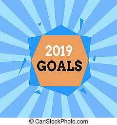 Text sign showing 2019 Goals. Conceptual photo something ...
