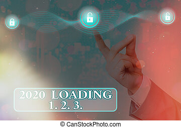Text sign showing 2020 Loading 1. 2. 3.. Conceptual photo welcoming the beginning of the new year Countdown Graphics padlock for web data information security application system.