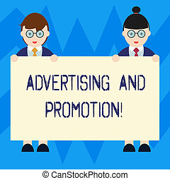 Text sign showing Advertising And Promotion. Conceptual photo Actions to stimulate customers to buy right now Male and Female in Uniform Standing Holding Blank Placard Banner Text Space.