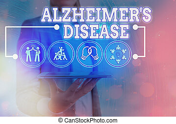 Text sign showing Alzheimers Disease. Business photo text irreversible brain disorder that slowly destroys memory