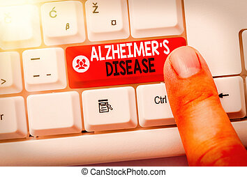 Text sign showing Alzheimers Disease. Business photo showcasing irreversible brain disorder that slowly destroys memory