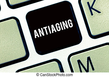 Text sign showing Antiaging. Conceptual photo A product...