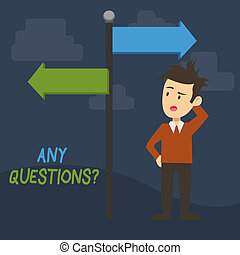 Text sign showing Any Questions Question. Conceptual photo you say write order to ask demonstrating about something Man Confused with the Road Sign Arrow Pointing to Opposite Side Direction.