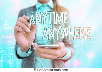 Text sign showing Anytime Anywhere. Conceptual photo ...