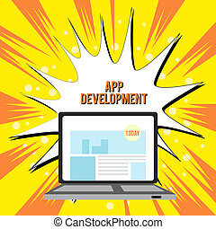 Text sign showing App Development. Conceptual photo Development services for awesome mobile and web experiences Open Modern Laptop Switched On with Website Homepage on Screen Web Search.