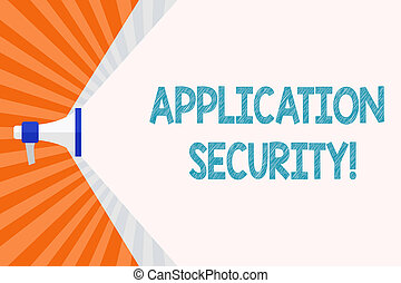 Text sign showing Application Security. Conceptual photo...