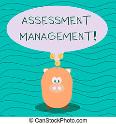 Text sign showing Assessment Management. Conceptual photo analysisagement of investments on behalf of others Color Speech Bubble with Gold Euro Coins on its Tail Pointing to Piggy Bank.