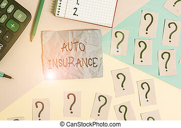 Text sign showing Auto Insurance. Conceptual photo mitigate costs associated with getting into an auto accident Mathematics stuff and writing equipment above pastel colours background.