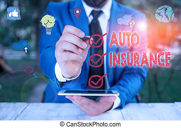 Text sign showing Auto Insurance. Conceptual photo mitigate costs associated with getting into an auto accident.