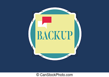 Text sign showing Backup. Conceptual photo Copy of file data made in case original is lost or damaged Support