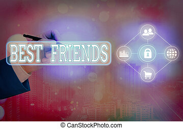 Text sign showing Best Friends. Conceptual photo A an ...