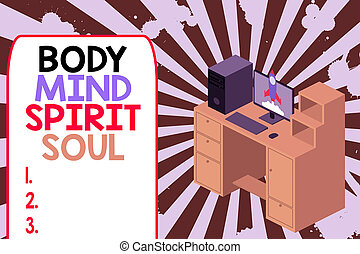 Text sign showing Body Mind Spirit Soul. Conceptual photo...
