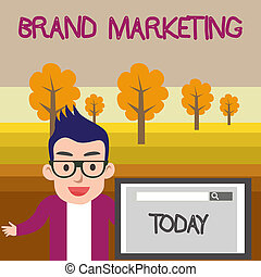 Text sign showing Brand Marketing. Conceptual photo Creating awareness about products around the world Male Speaker Monitor with Search Tool on Screen Presentation or Report.