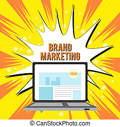 Text sign showing Brand Marketing. Conceptual photo Creating awareness about products around the world Open Modern Laptop Switched On with Website Homepage on Screen Web Search.