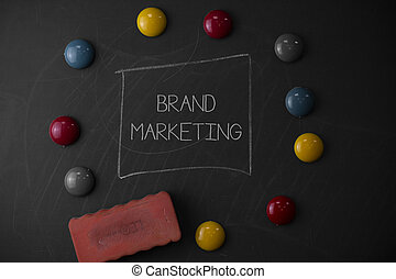 Text sign showing Brand Marketing. Conceptual photo Creating awareness about products around the world Round Flat shape stones with one eraser stick to old chalk black board.