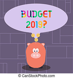 Text sign showing Budget 2019 Question. Conceptual photo estimate of income and expenditure for next year Color Speech Bubble with Gold Euro Coins on its Tail Pointing to Piggy Bank.