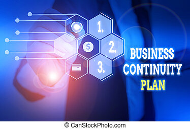 Text sign showing Business Continuity Plan. Business photo text creating systems prevention deal potential threats Woman wear formal work suit presenting presentation using smart device