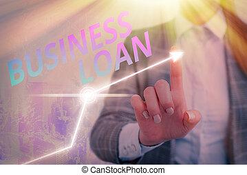 Text sign showing Business Loan. Conceptual photo Credit Mortgage Financial Assistance Cash Advances Debt.